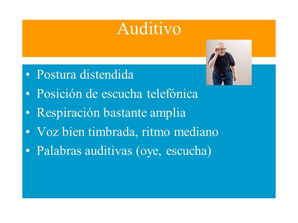 Auditivo Postura distendida Posición de escucha telefónica