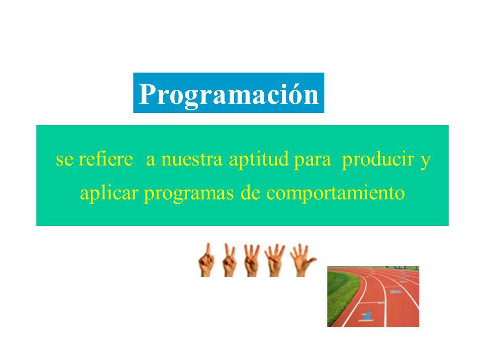 Programación se refiere a nuestra aptitud para producir y aplicar programas de comportamiento