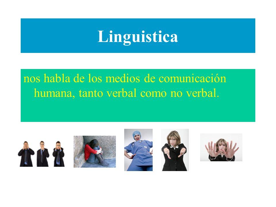 Linguistica nos habla de los medios de comunicación humana, tanto verbal como no verbal.