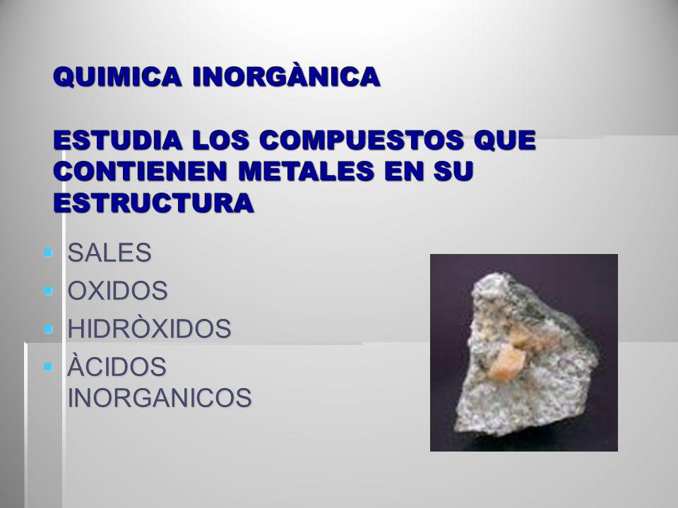 QUIMICA INORGÀNICA ESTUDIA LOS COMPUESTOS QUE CONTIENEN METALES EN SU ESTRUCTURA