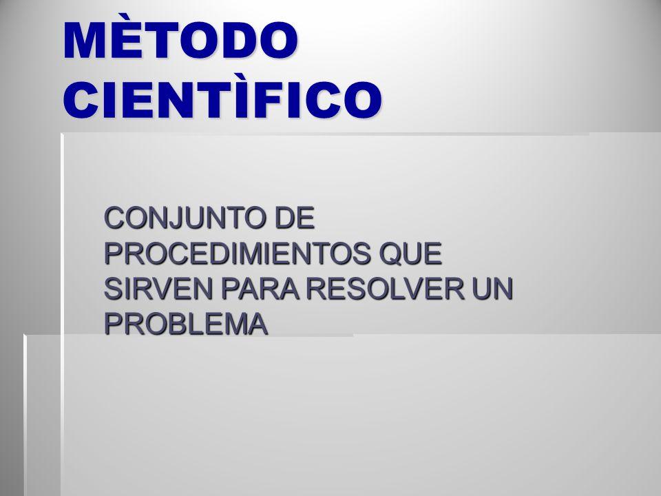 MÈTODO CIENTÌFICO CONJUNTO DE PROCEDIMIENTOS QUE SIRVEN PARA RESOLVER UN PROBLEMA