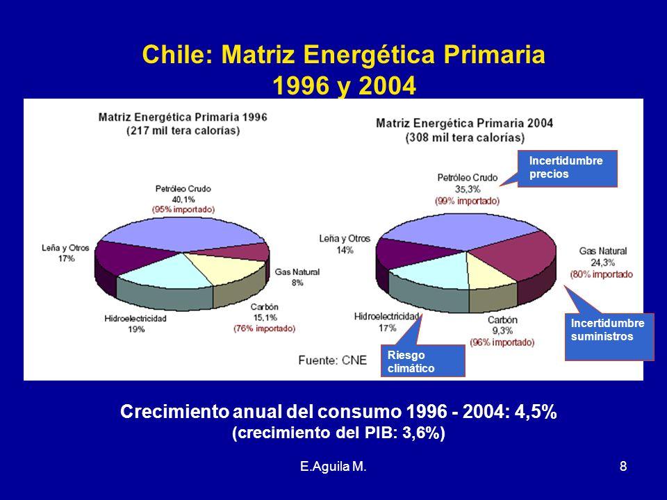 Chile: Matriz Energética Primaria 1996 y 2004
