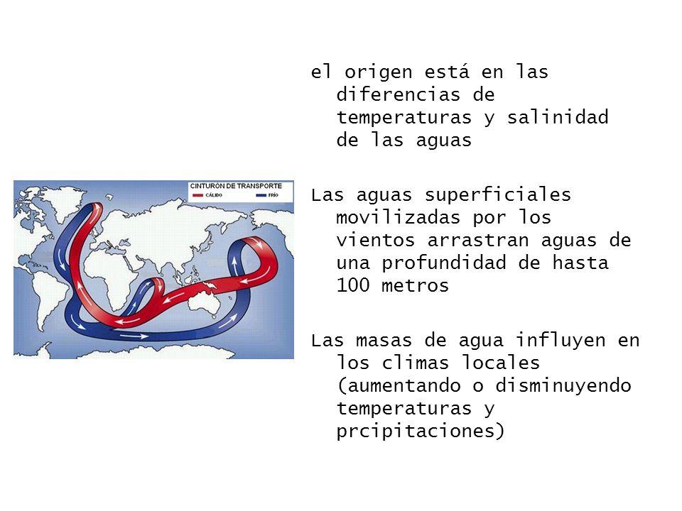 el origen está en las diferencias de temperaturas y salinidad de las aguas