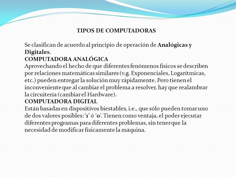 TIPOS DE COMPUTADORAS Se clasifican de acuerdo al principio de operación de Analógicas y Digitales.