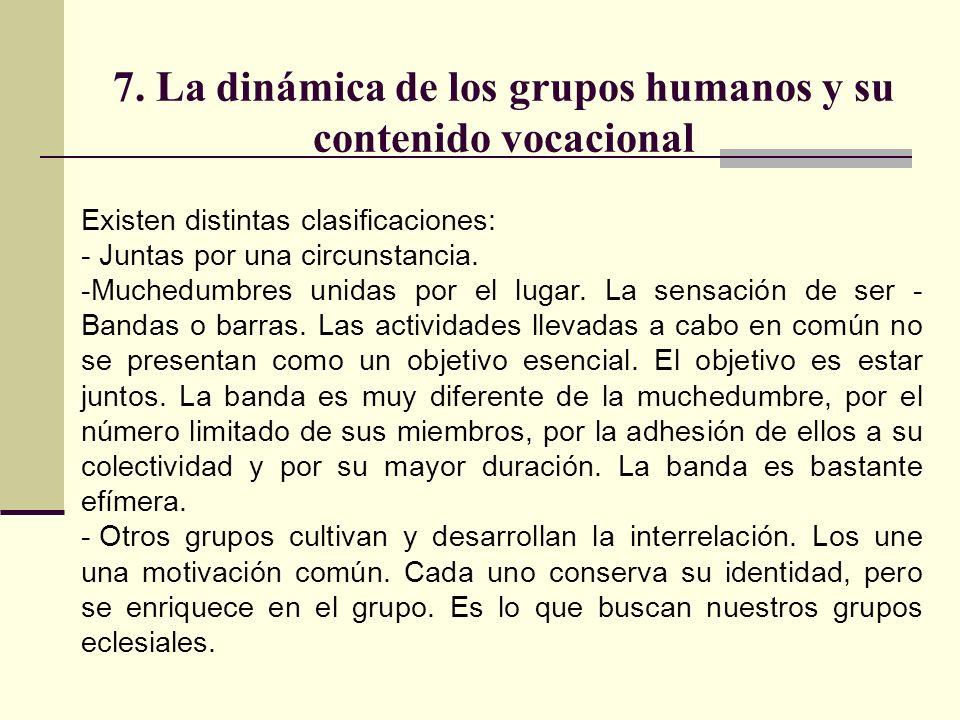 7. La dinámica de los grupos humanos y su contenido vocacional