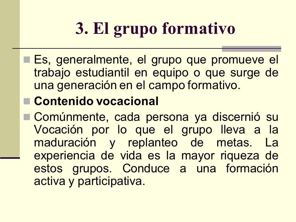 3. El grupo formativo Es, generalmente, el grupo que promueve el trabajo estudiantil en equipo o que surge de una generación en el campo formativo.