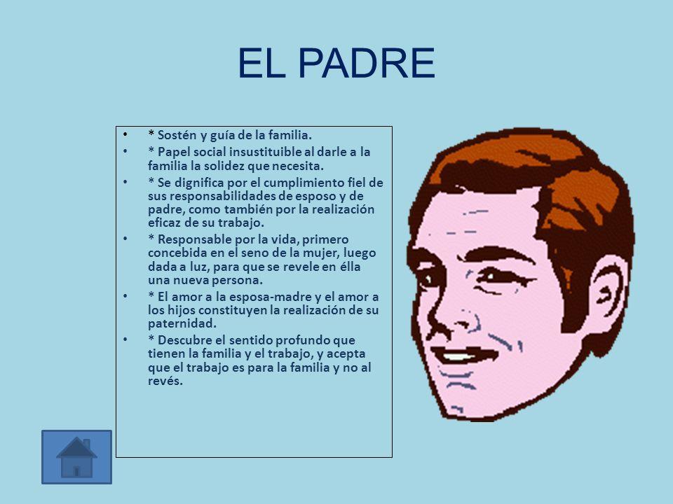 EL PADRE * Sostén y guía de la familia.