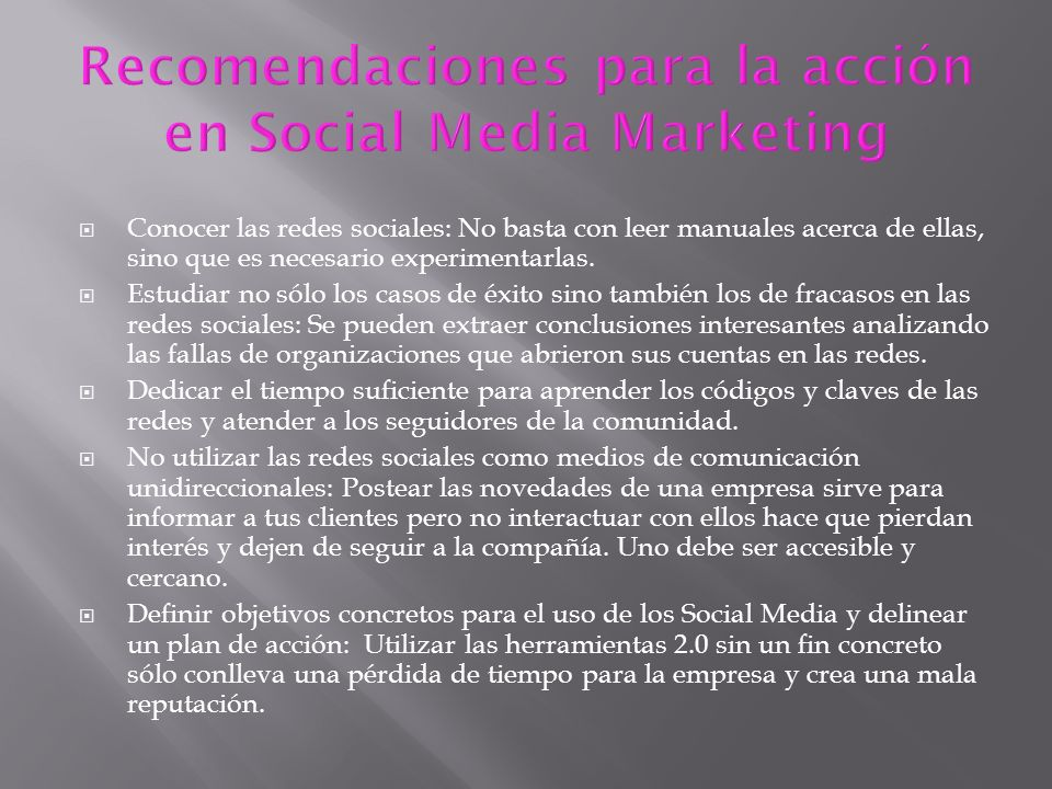 Recomendaciones para la acción en Social Media Marketing