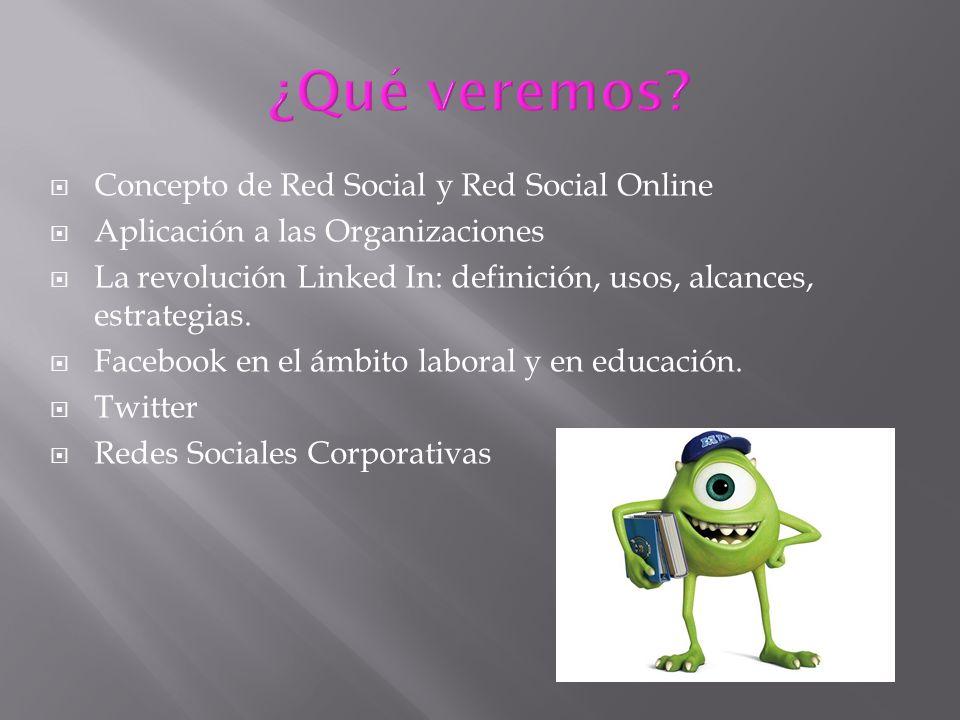 ¿Qué veremos Concepto de Red Social y Red Social Online