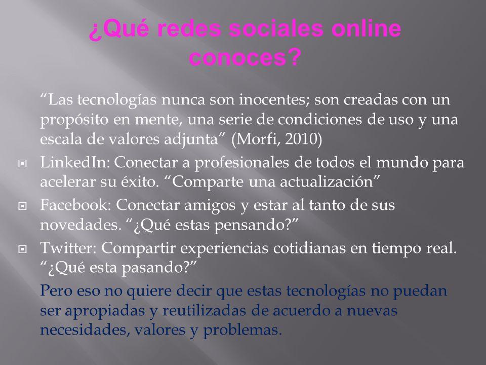 ¿Qué redes sociales online conoces