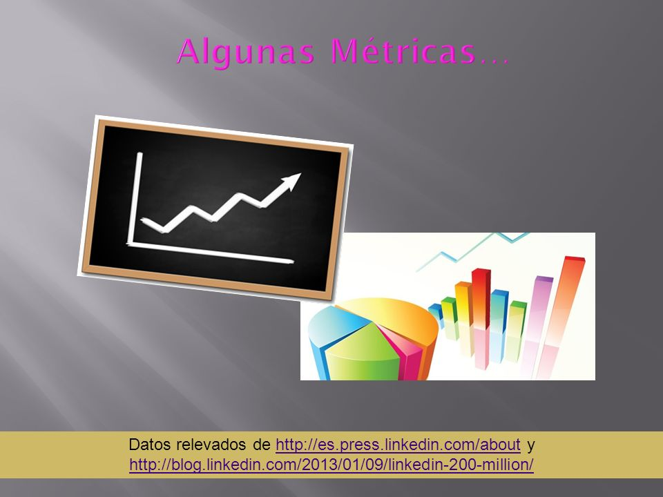 Algunas Métricas… Datos relevados de http://es.press.linkedin.com/about y http://blog.linkedin.com/2013/01/09/linkedin-200-million/