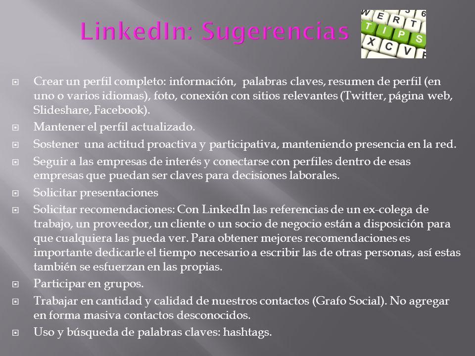 LinkedIn: Sugerencias