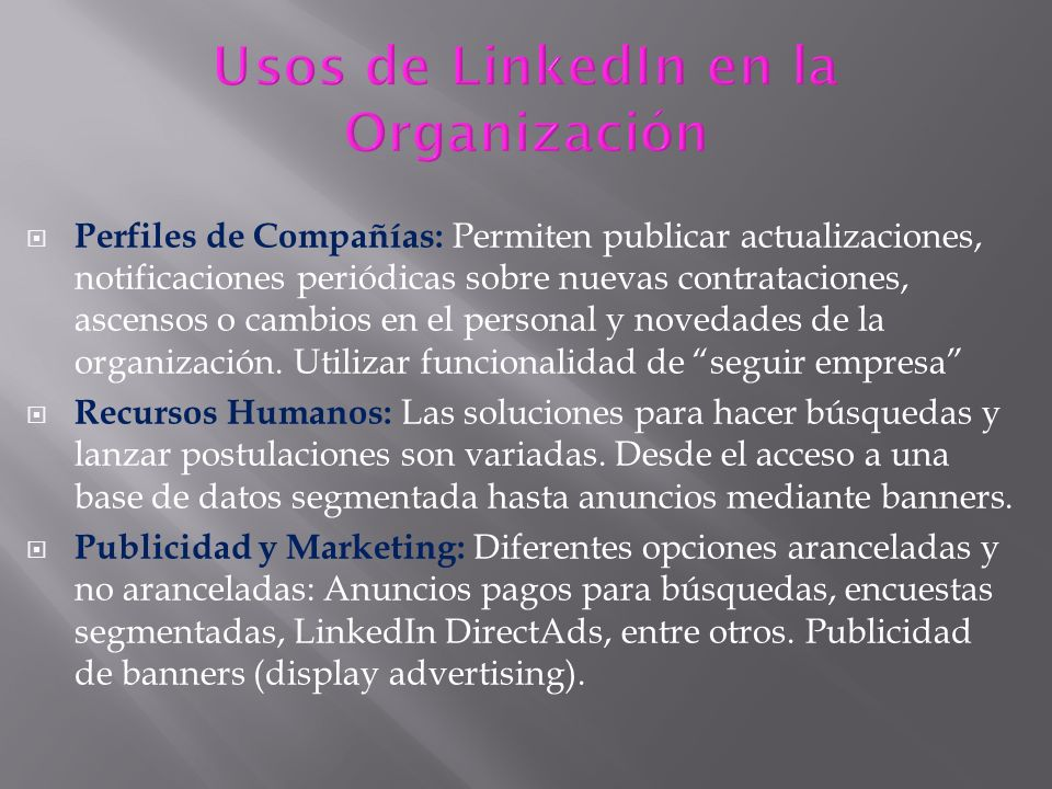 Usos de LinkedIn en la Organización