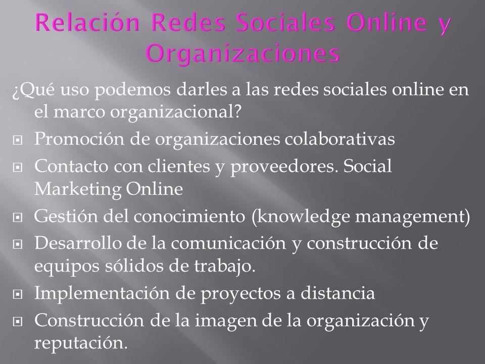 Relación Redes Sociales Online y Organizaciones