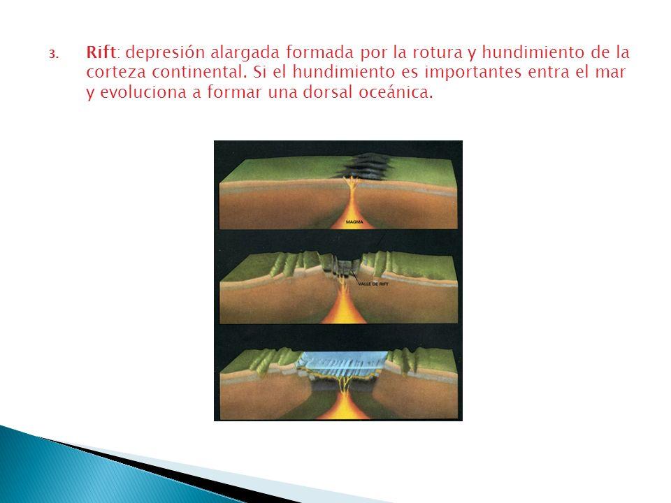 Rift: depresión alargada formada por la rotura y hundimiento de la corteza continental.