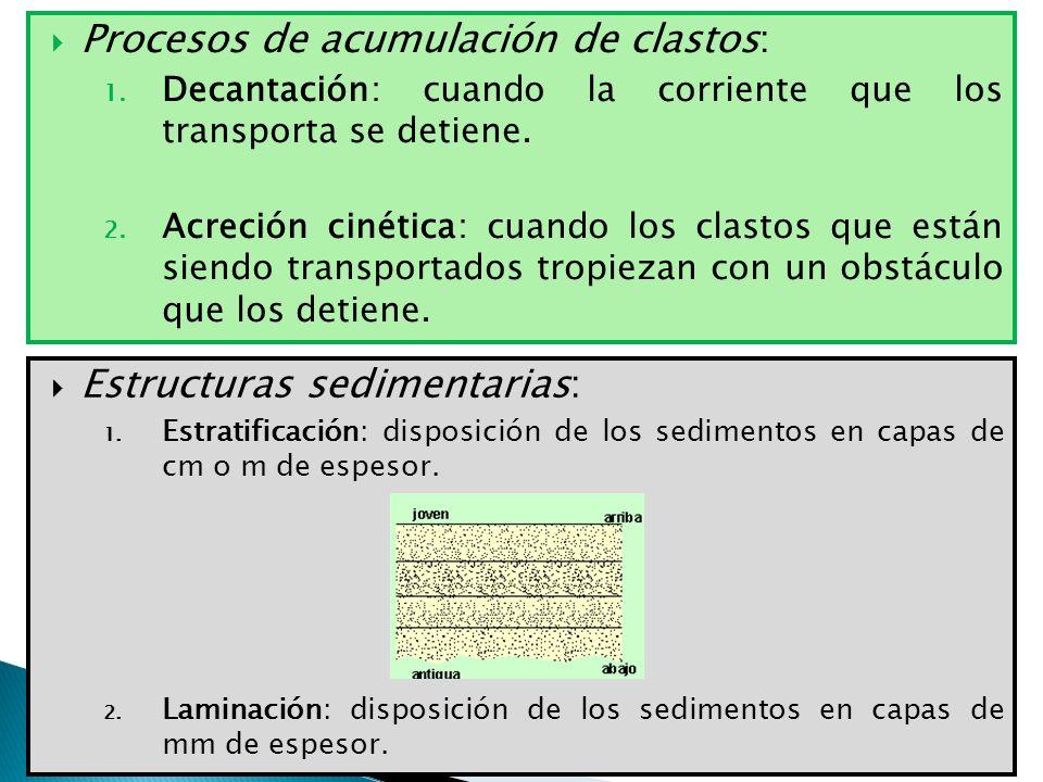 Procesos de acumulación de clastos: