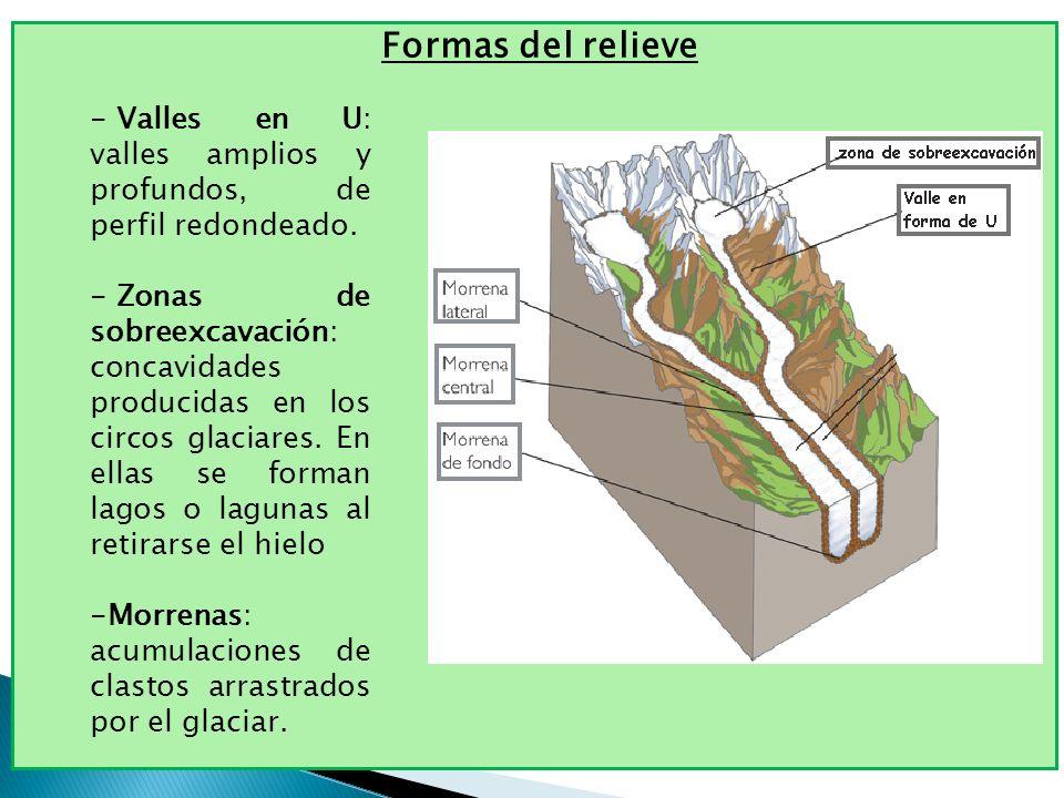 Formas del relieve Valles en U: valles amplios y profundos, de perfil redondeado.