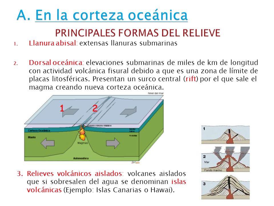 A. En la corteza oceánica