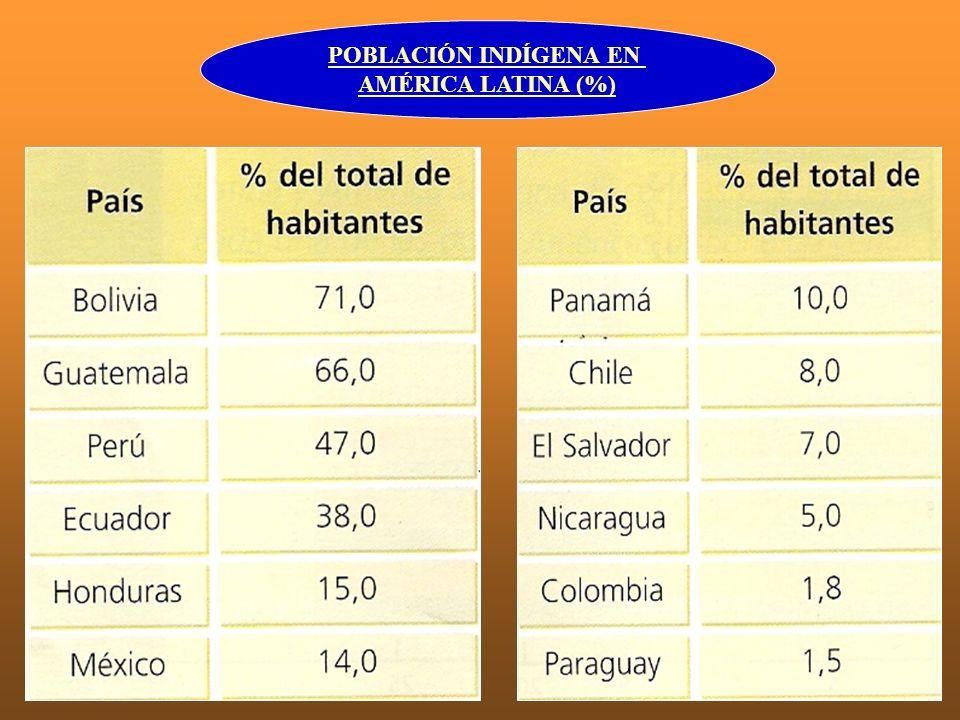 POBLACIÓN INDÍGENA EN AMÉRICA LATINA (%)