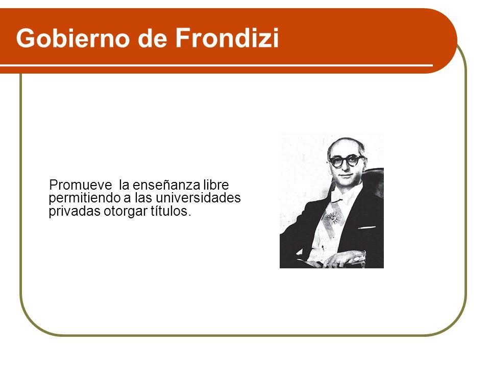 Gobierno de FrondiziPromueve la enseñanza libre permitiendo a las universidades privadas otorgar títulos.