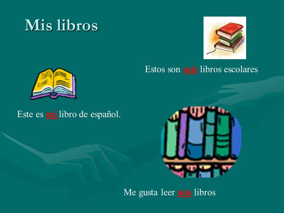 Mis libros Estos son mis libros escolares Este es mi libro de español.