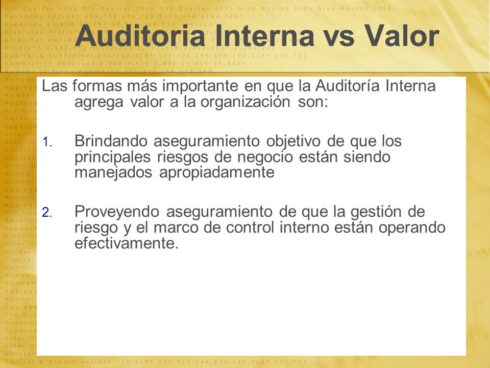 Auditoria Interna vs Valor