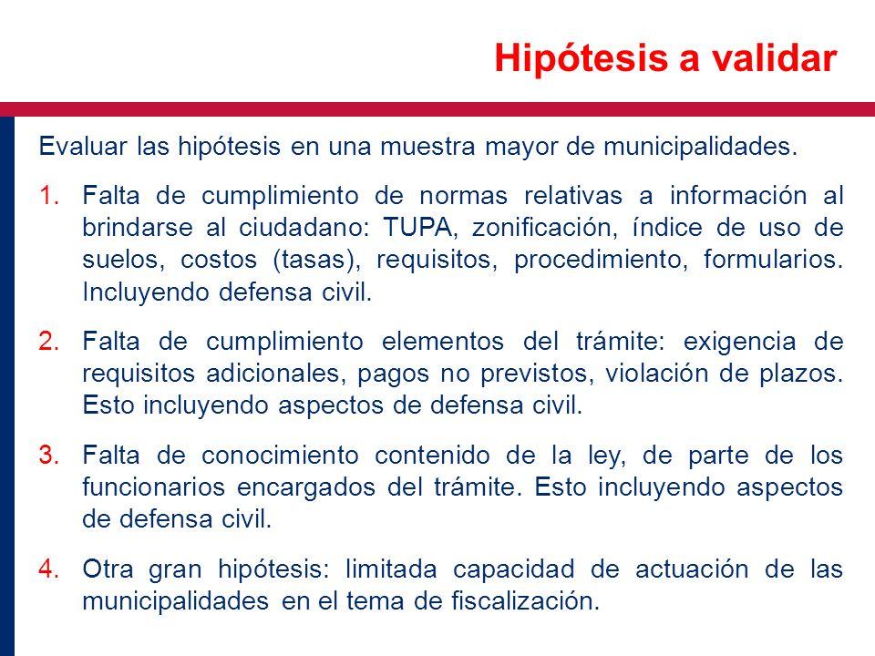 Hipótesis a validar Evaluar las hipótesis en una muestra mayor de municipalidades.