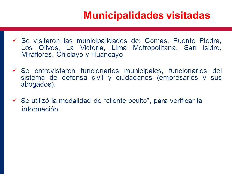 Municipalidades visitadas