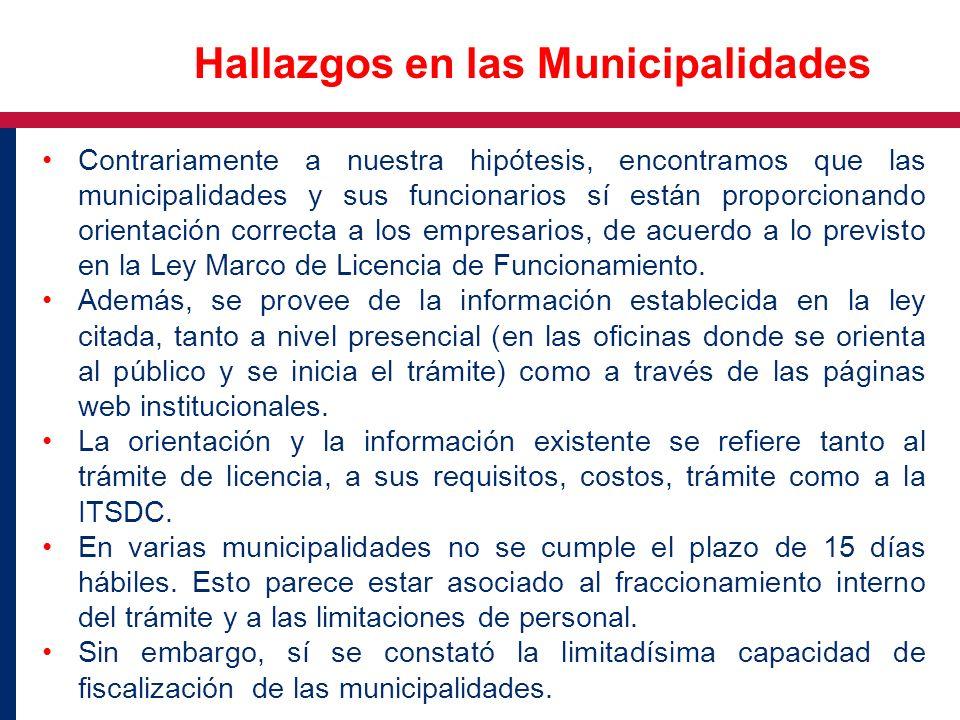 Hallazgos en las Municipalidades