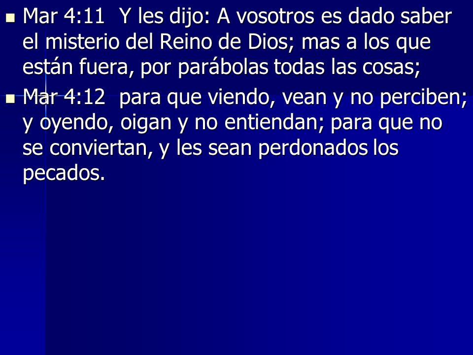 Mar 4:11 Y les dijo: A vosotros es dado saber el misterio del Reino de Dios; mas a los que están fuera, por parábolas todas las cosas;