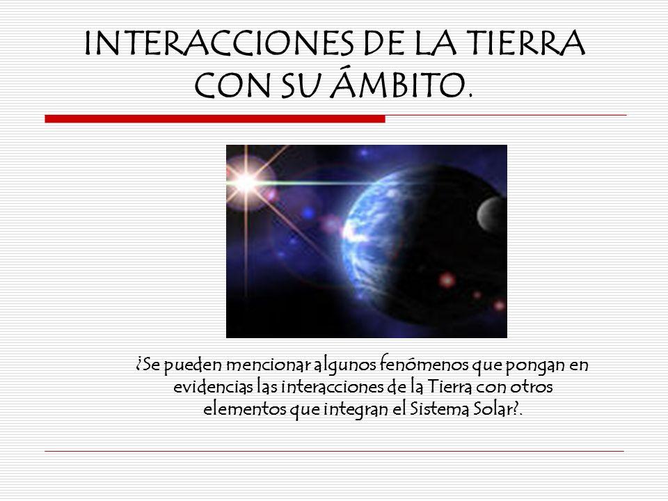 INTERACCIONES DE LA TIERRA CON SU ÁMBITO.