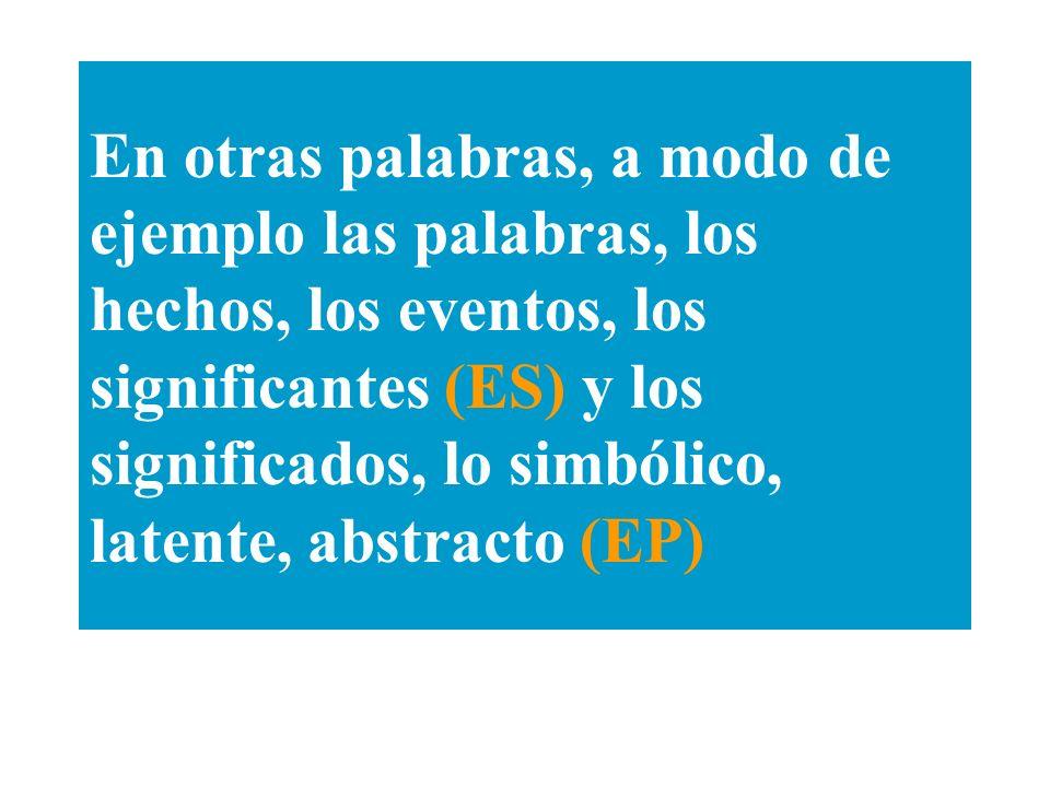 En otras palabras, a modo de ejemplo las palabras, los hechos, los eventos, los significantes (ES) y los significados, lo simbólico, latente, abstracto (EP)