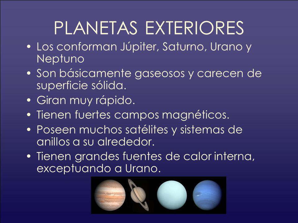 PLANETAS EXTERIORES Los conforman Júpiter, Saturno, Urano y Neptuno