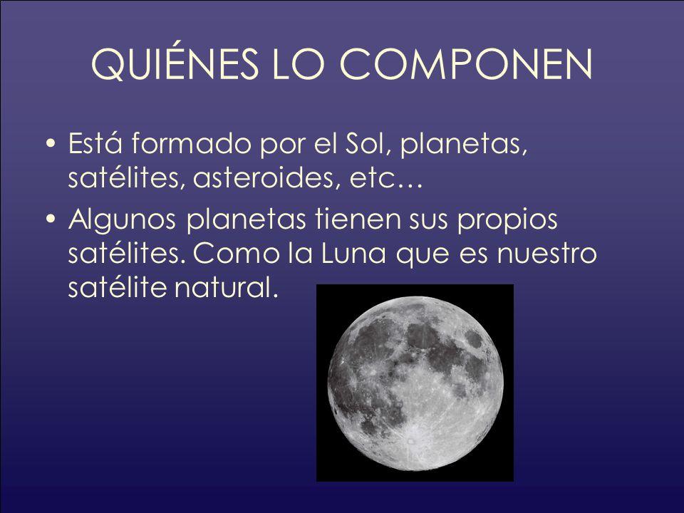 QUIÉNES LO COMPONENEstá formado por el Sol, planetas, satélites, asteroides, etc…