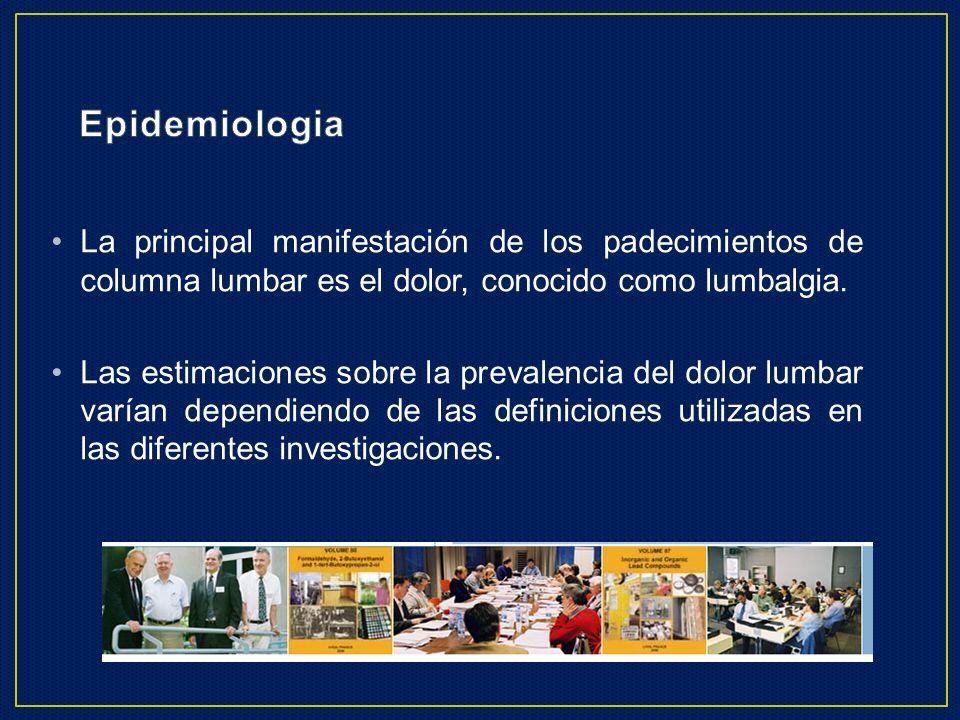 EpidemiologiaLa principal manifestación de los padecimientos de columna lumbar es el dolor, conocido como lumbalgia.