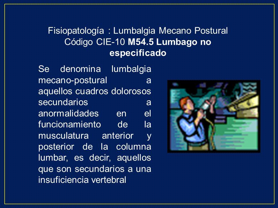 Fisiopatología : Lumbalgia Mecano Postural Código CIE-10 M54