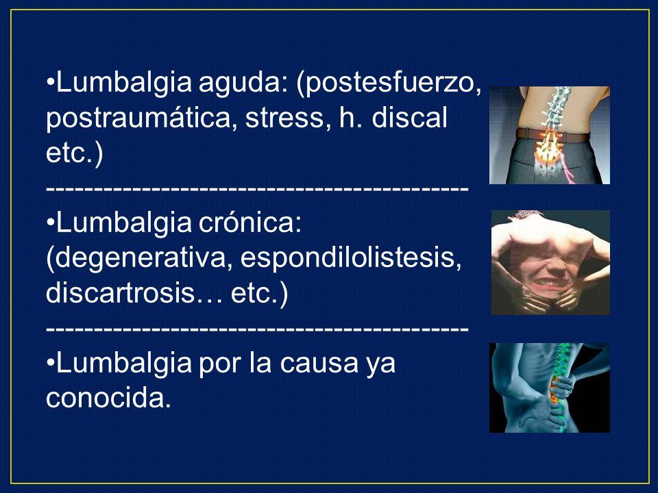 Lumbalgia aguda: (postesfuerzo, postraumática, stress, h. discal etc.)