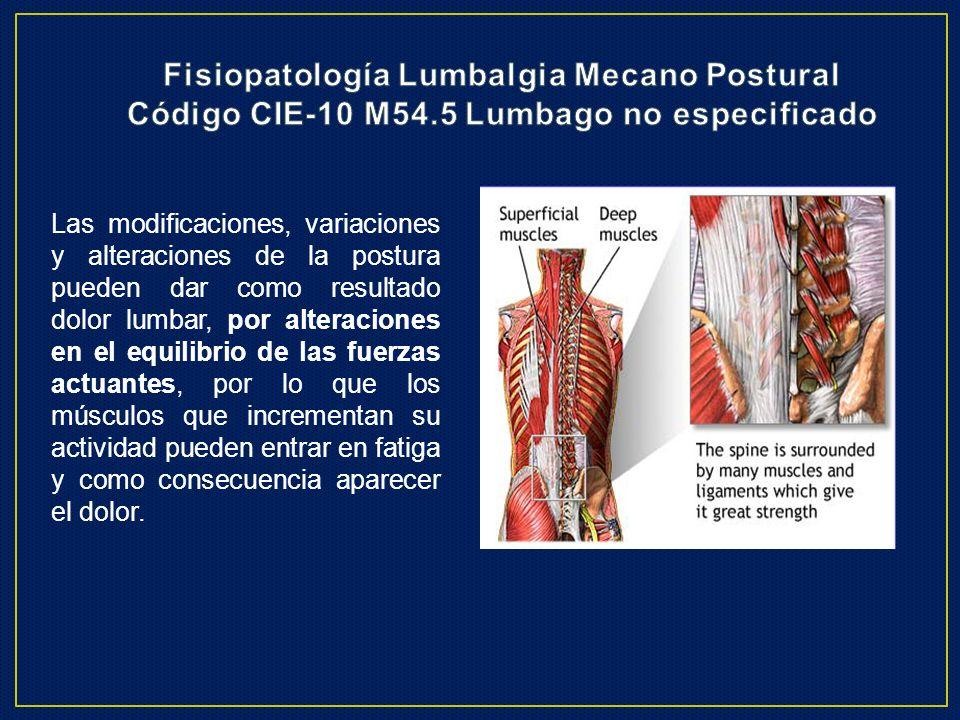 Fisiopatología Lumbalgia Mecano Postural Código CIE-10 M54