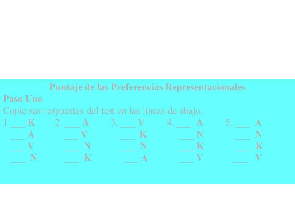 Puntaje de las Preferencias Representacionales
