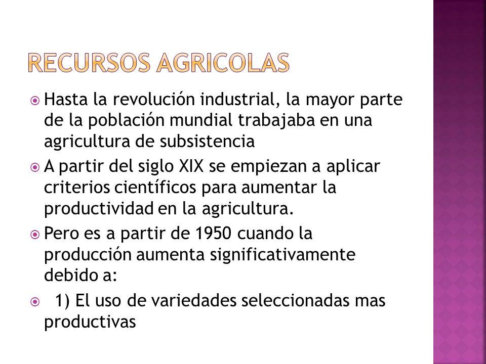 RECURSOS AGRICOLAS Hasta la revolución industrial, la mayor parte de la población mundial trabajaba en una agricultura de subsistencia.