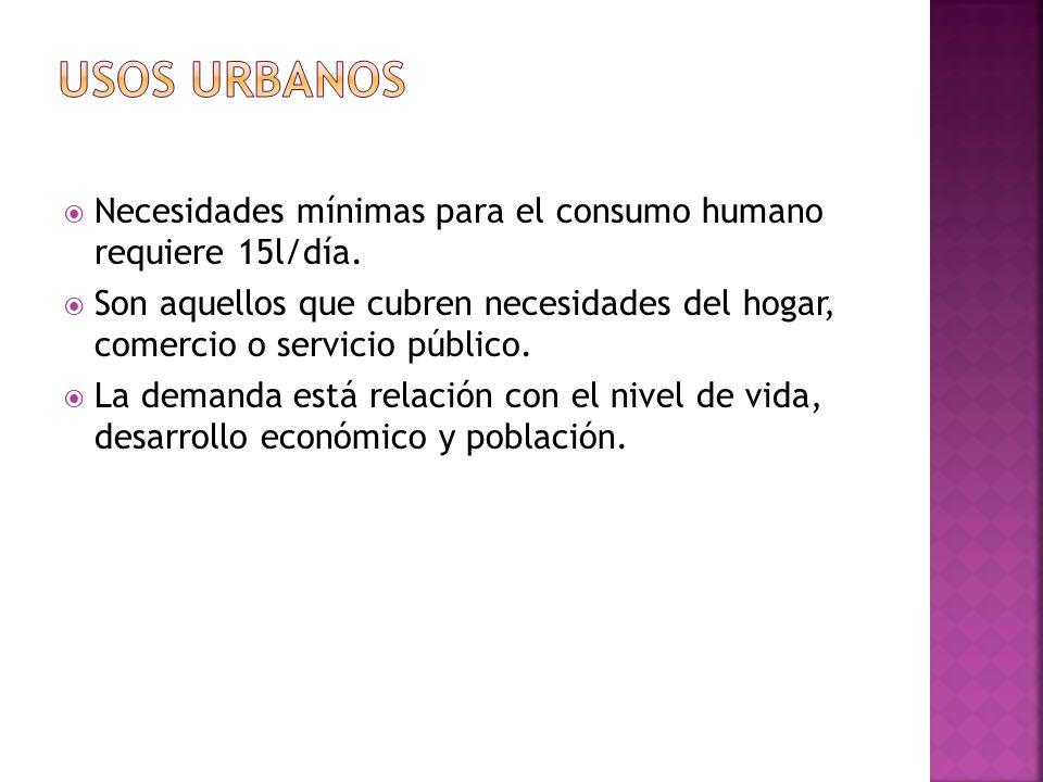 Usos urbanosNecesidades mínimas para el consumo humano requiere 15l/día.