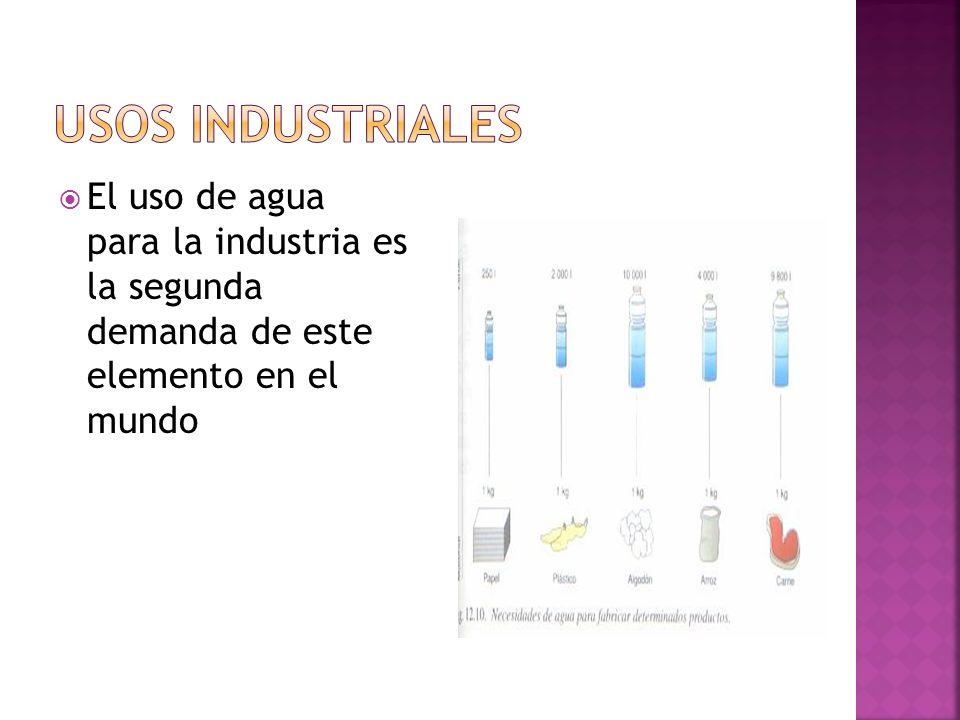 USOS INDUSTRIALESEl uso de agua para la industria es la segunda demanda de este elemento en el mundo.