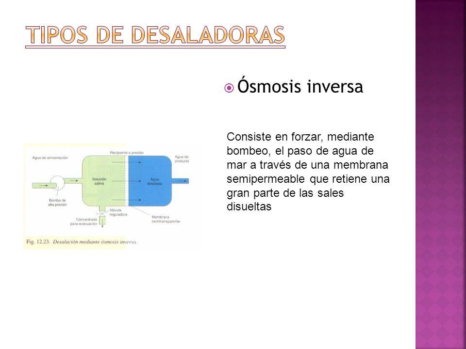 TIPOS DE DESALADORAS Ósmosis inversa