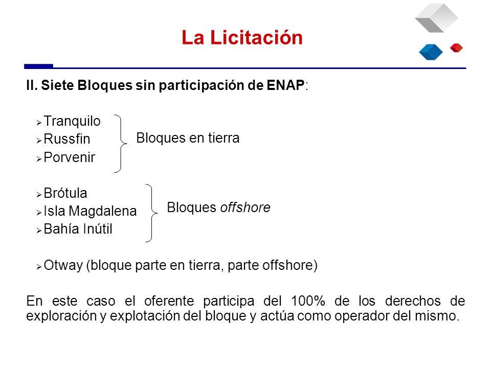 La Licitación II. Siete Bloques sin participación de ENAP: Tranquilo