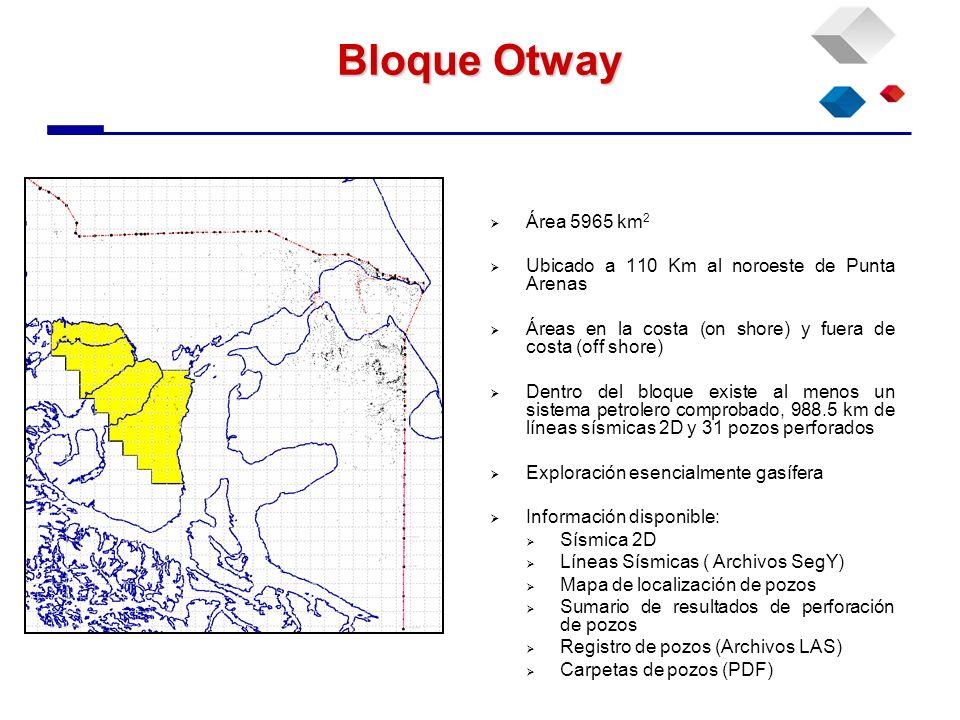 Bloque Otway Área 5965 km2. Ubicado a 110 Km al noroeste de Punta Arenas. Áreas en la costa (on shore) y fuera de costa (off shore)