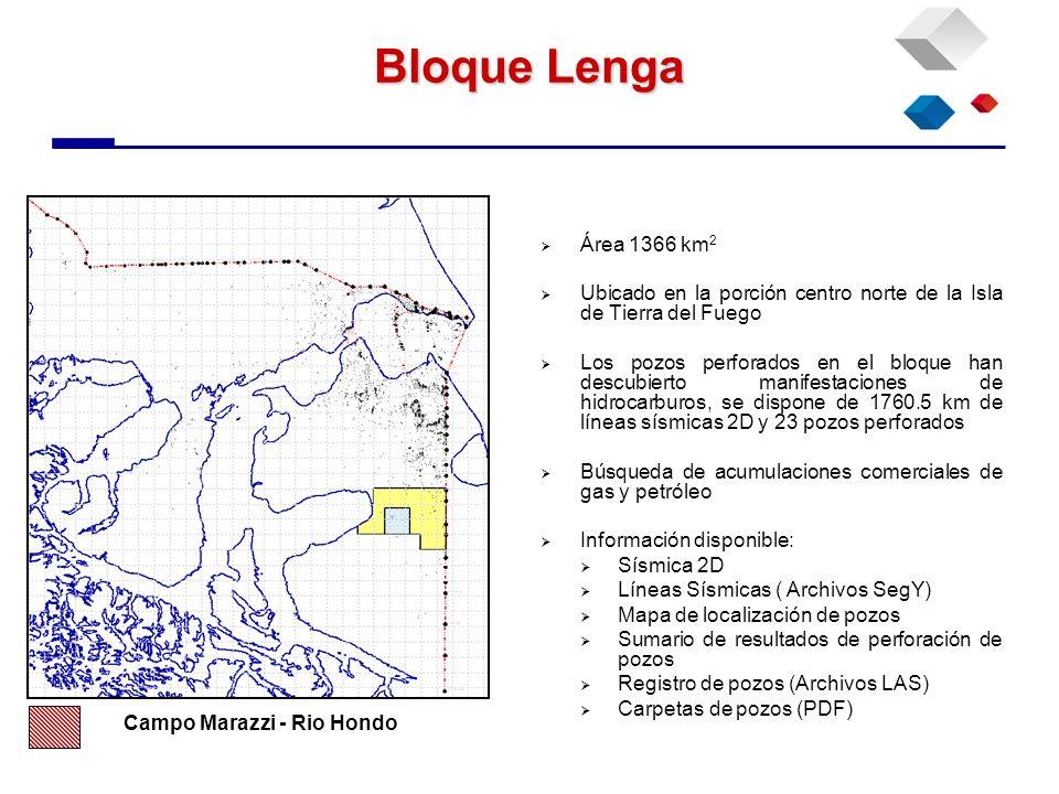 Bloque LengaÁrea 1366 km2. Ubicado en la porción centro norte de la Isla de Tierra del Fuego.