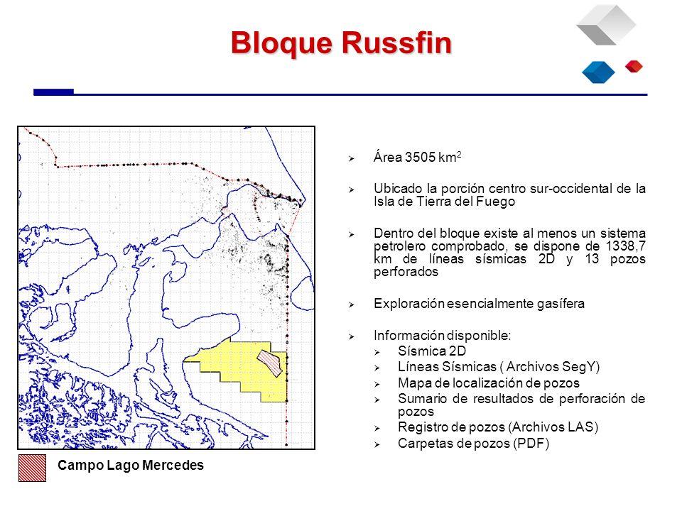 Bloque Russfin Área 3505 km2. Ubicado la porción centro sur-occidental de la Isla de Tierra del Fuego.