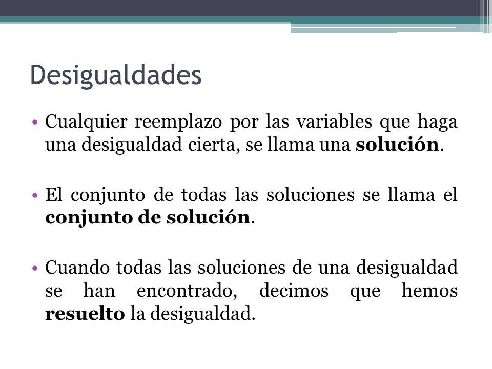 Desigualdades Cualquier reemplazo por las variables que haga una desigualdad cierta, se llama una solución.