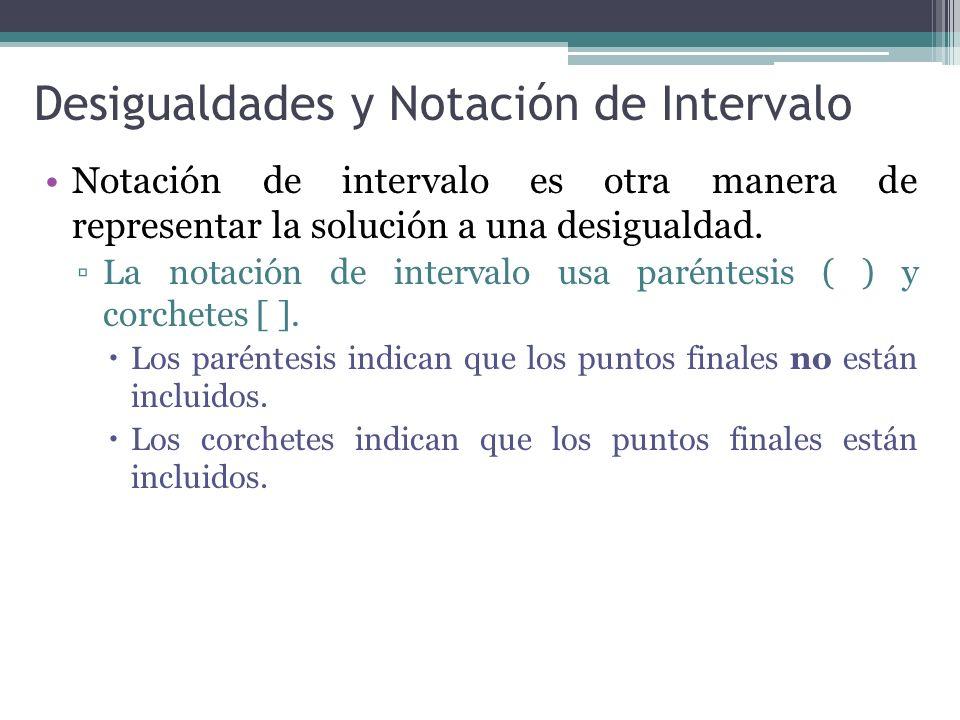 Desigualdades y Notación de Intervalo