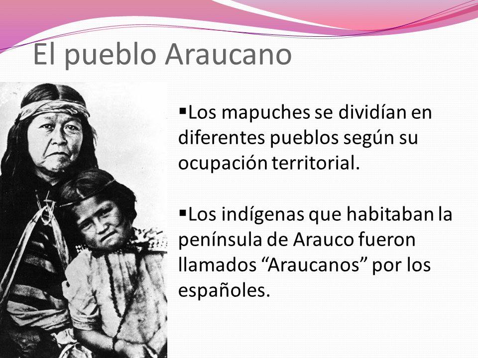 El pueblo Araucano Los mapuches se dividían en diferentes pueblos según su ocupación territorial.